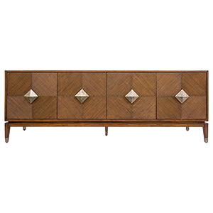 Diamond Accra Brown and Aged Brass Large Cabinet
