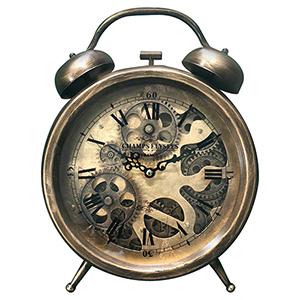 Dark Brass Bronze Gears Table Top Clock
