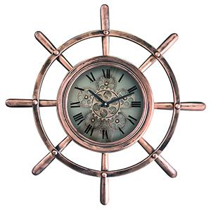 Ship Wheel Copper Wall Clock