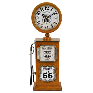 Route 66 Distressed Yellow Table Top Clock