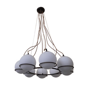Periwinkle Oil Rubbed Bronze Eight-Light Chandelier