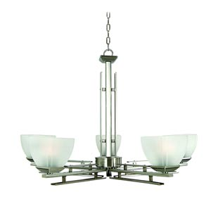Half Dome Satin Nickel Five-Light Chandelier