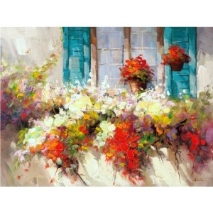 Window Box: 48 x 36 Hand Painted Canvas Wall Art