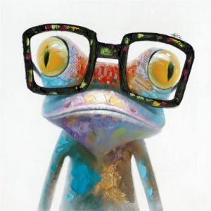 Hipster Froggy: 40 x 40 Hand Painted Canvas Wall Art