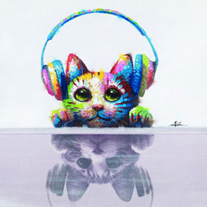 Cat Beats: 24 x 24 Acrylic Painting