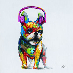 Dog Beats II: 24 x 24 Acrylic Painting