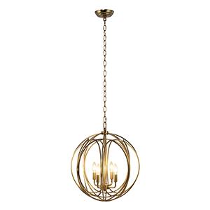 Satin Brass Four-Light Chandelier