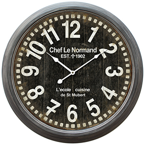 Black Circular Iron Wall Clock with Gray Iron Frame