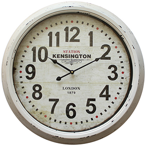 White Indoor 24-Inch Wall Clock with Distressed Iron Frame