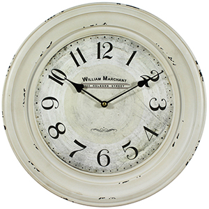 White 16-Inch Wall Clock with Distressed Iron Frame