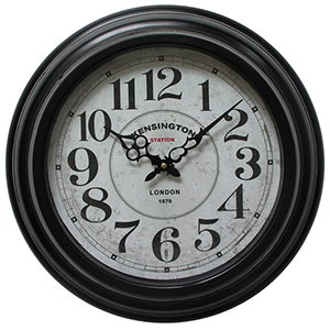 Black 17-Inch Circular Wall Clock with Iron Frame