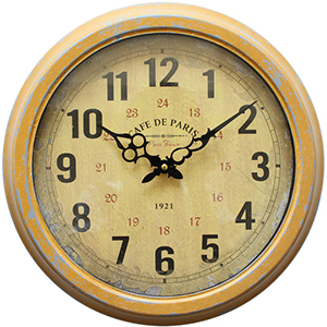 Yellow and Gold 16-Inch Wall Clock with Distressed Iron Frame