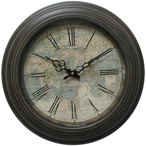Black 17-Inch Circular Wall Clock with Map Print