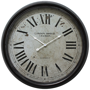 Black 25-Inch Wall Clock with Distressed Iron Frame