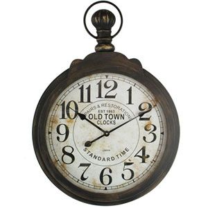Dark Brown and White Wall Clock