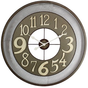 Dark Grey, Beige and White Iron Wall Clock