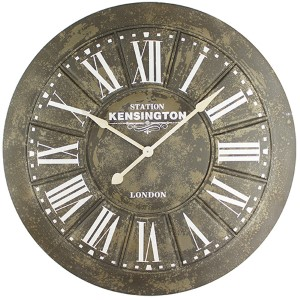 Gray, Beige and White Big Iron Wall Clock with Screen Printing