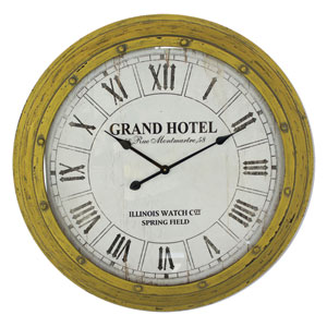 Yellow and White Wall Clock
