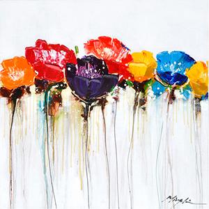 Jeweled Poppies I: 40 x 40 Acrylic Painting