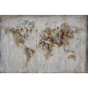 Map in Neutrals Wood Wall Art