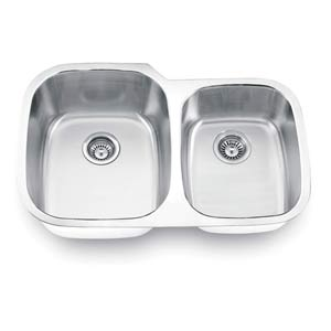 Stainless Steel Left Undermount Double Bowl Sink