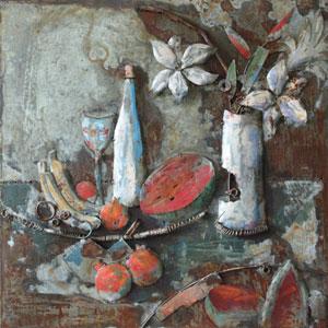 Fruitful Beginnings I 32 x 32 Acrylic Painting Mix w/ Metal