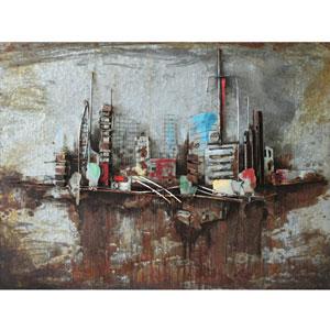 Metropolis II 40 x 30 Acrylic Painting Mix w/ Metal