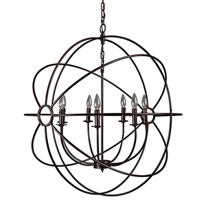 Shooting Star Rustic Black Seven-Light Chandelier