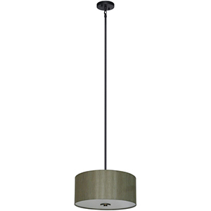Lyell Forks Ebony Bronze Three Light 16-Inch Drum Pendant with Toffee Crunch Shade