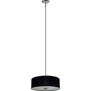 Lyell Forks Satin Steel Four Light 22-Inch Drum Pendant with Black Stealth Shade