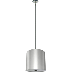 Lyell Forks Satin Steel Five Light 22-Inch Drum Pendant with Pristine White Shade