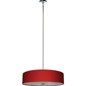 Lyell Forks Satin Steel Five Light Drum Pendant with Chili Pepper Red Shade