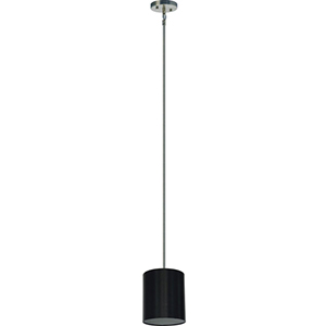 Lyell Forks Satin Steel One Light Mini Pendant with Black Stealth Shade