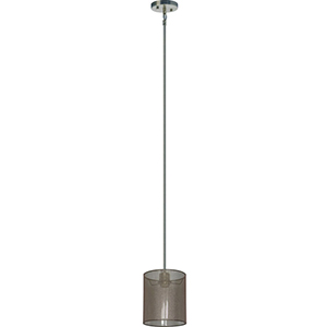 Lyell Forks Satin Steel One Light 7-Inch Mini Pendant with Lustrous Steel Shade