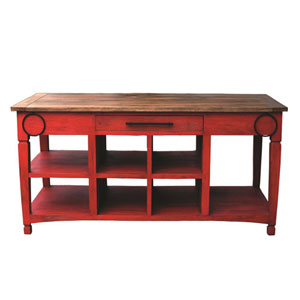 Red Kitchen Workstation with Stool