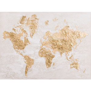 Map in Gold Canvas