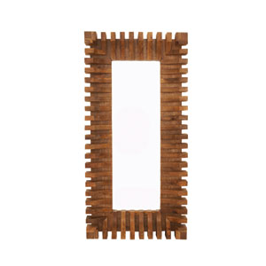 Natural Wood and Brown Rectangular Mirror