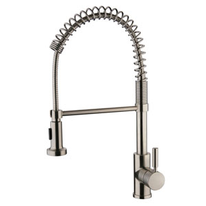 Spring Pull-Out Brushed Nickel Kitchen Faucet