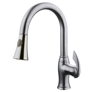 Brushed Nickel Single Handle Kitchen Faucet w/ Pull-Out Sprayer