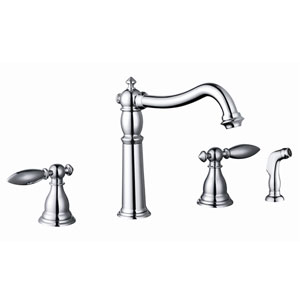 Polished Chrome Two Handle Kitchen Faucet w/ Side Sprayer