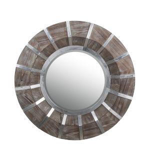 Brown 2-Inch Round Wall Mirror