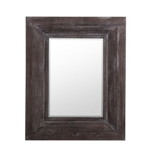 Brown 2-Inch Wooden Wall Beveled Mirror