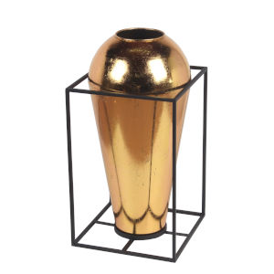Brass and Gold Metal 11-Inch Decorative Vase