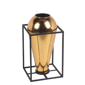 Brass and Gold Metal 8-Inch Decorative Vase