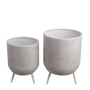 White Ceramic Outdoor Planter, Set of 2