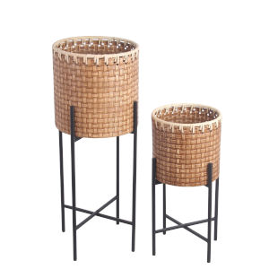 Natural and Black Metal Vinyl 12-Inch Outdoor Planter, Set of 2