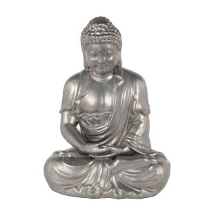 Silver Ceramic Buddah Figurine