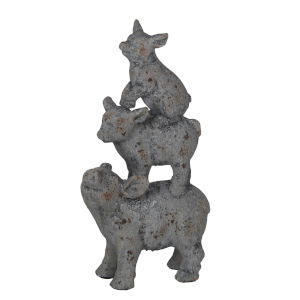 Gray Ceramic Pig Figurine