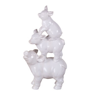 White Ceramic Pig Figurine