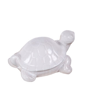 White Ceramic Turtle Figurine